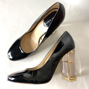 Zara Patent Leather Gold Frame Clear Heel Pump